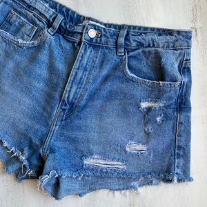 ZARA High-Rise Ripped Denim Shorts